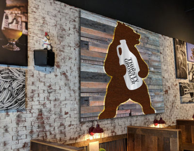 (planned) Illuminated steel and wood sign for bar